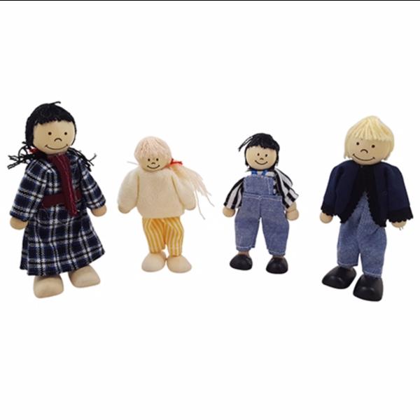 Playwood Poppenhuispoppetjes, vader, moeder, 8 kinderen, opa en oma