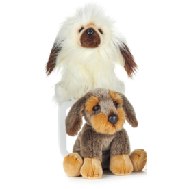 Paws-Dinotoys Pluche hond wit met donkerbruin