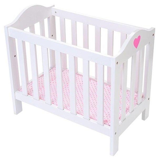 Playwood Poppenbed wit verstelbaar met roze hart - Copy