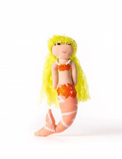 Duduk pop  zeemeermin duduk geel haar oranje lijf