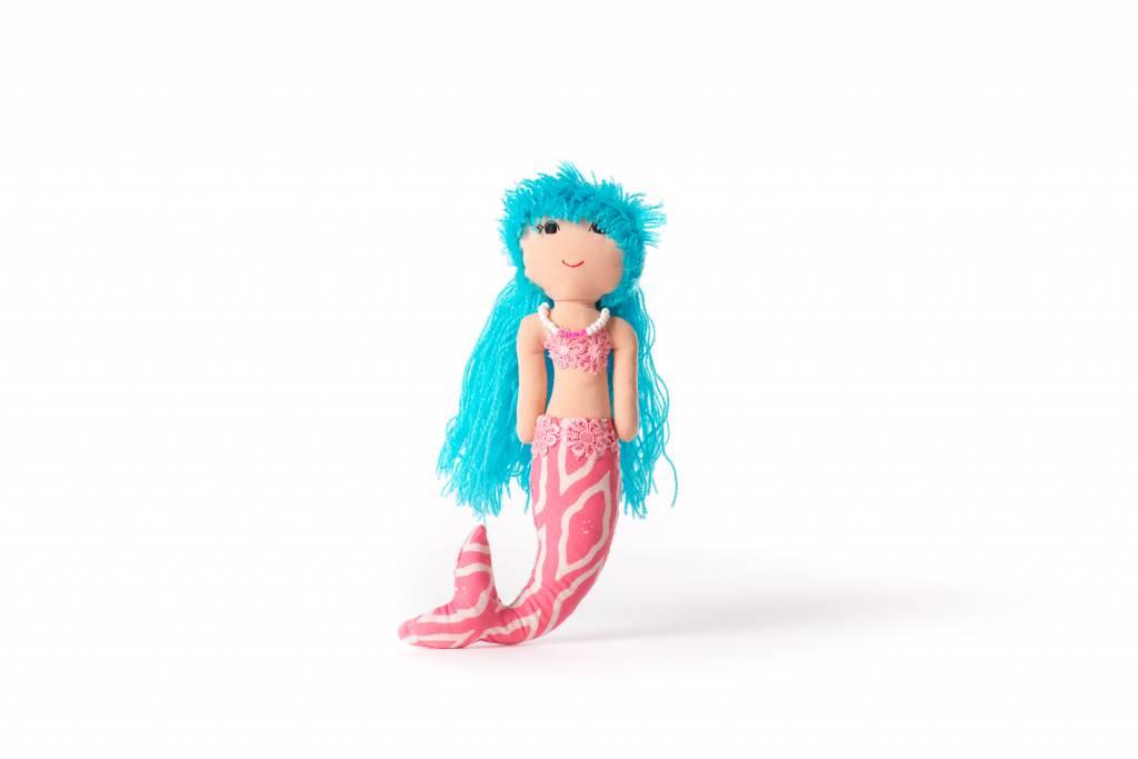 Duduk pop  zeemeermin duduk blauw haar roze lijf