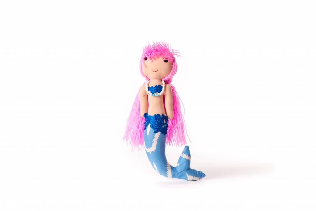 Duduk pop  zeemeermin duduk roze haar blauw lijf