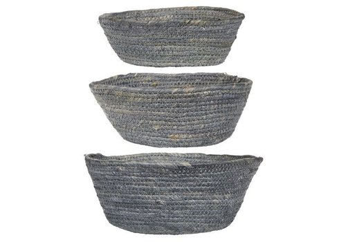 Basket set of 3 grey