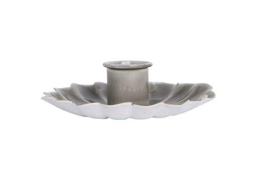 Candle holder flower grey
