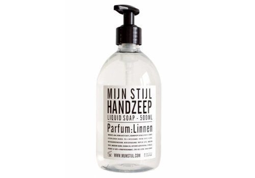 MIJN STIJL Handzeep parfum linnen 500 ml wit  etiket