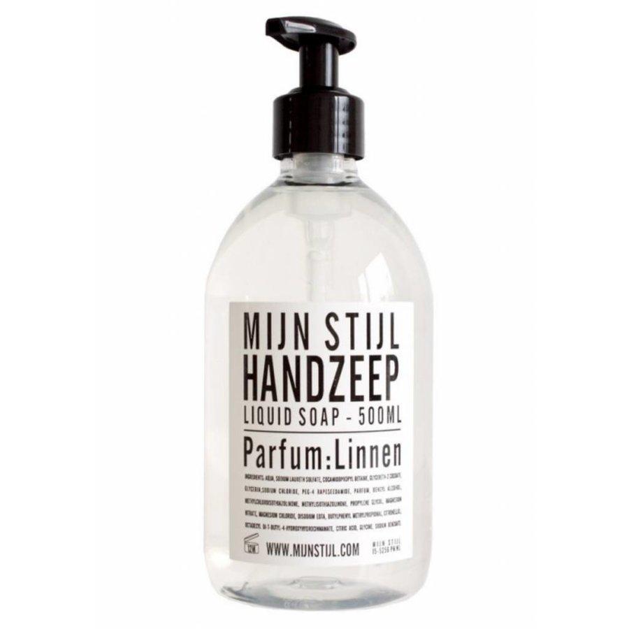 Handzeep parfum linnen 500 ml wit zwart etiket-1