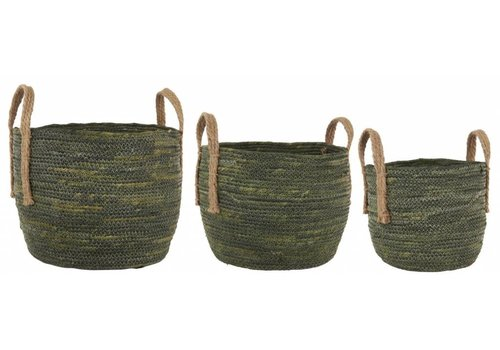 Basket set of 3 olive green w/jute handles