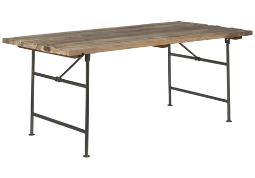 Long table wood w/metal stand