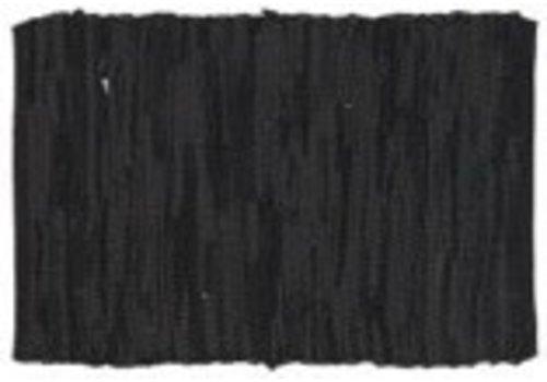 IB LAURSEN Leather Placemat Black