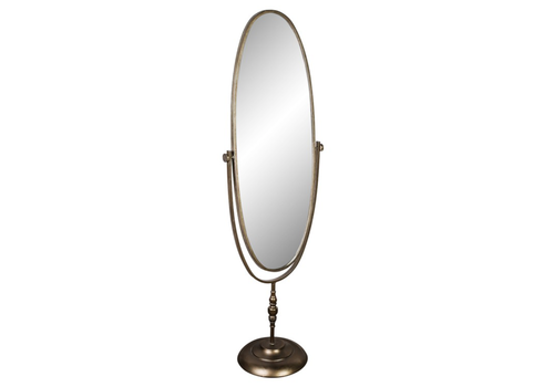 Crespo brass metal simple standing mirror oval