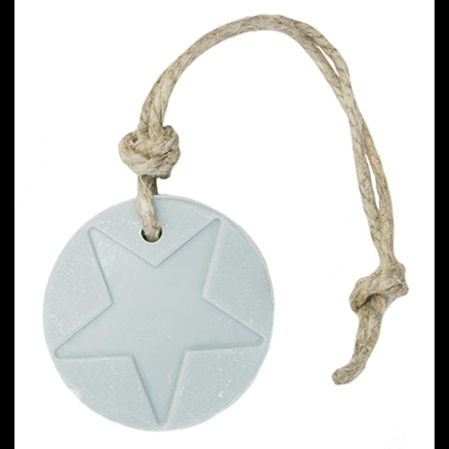 Hanger schijf ster licht blauw parfum linnen 70 gram-1