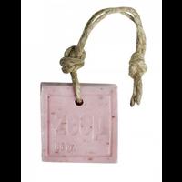 Zeephanger vierkant circa 85 gram oud roze met zemelen geur roos