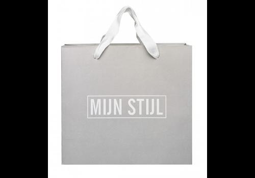 MIJN STIJL Kadoverpakking tas licht grijs/witte letters mijn stijl