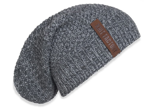 KNIT FACTORY Coco beanie antraciet grijs