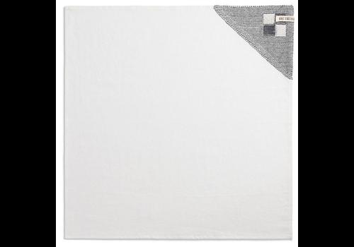 KNIT FACTORY Theedoek Grote Blok 2 kleuren Ecru/Med Grey