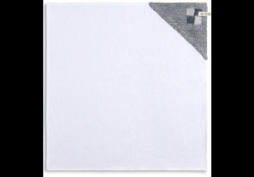 KNIT FACTORY Theedoek Grote Blok 2 kleuren Ecru/Granit