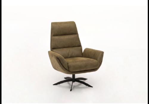 fauteuil cognac 2892 zwart staal voet