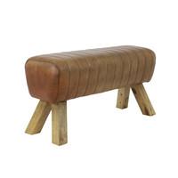 Bench 87x30x46 cm Sem leather brown
