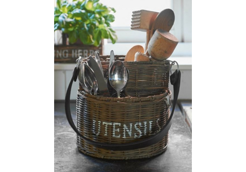 RIVIERA MAISON Rustic Rattan Utensils Basket