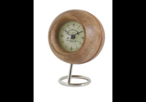 LIGHT & LIVING Clock Ø14x20 cm LEESTON wood+nickel