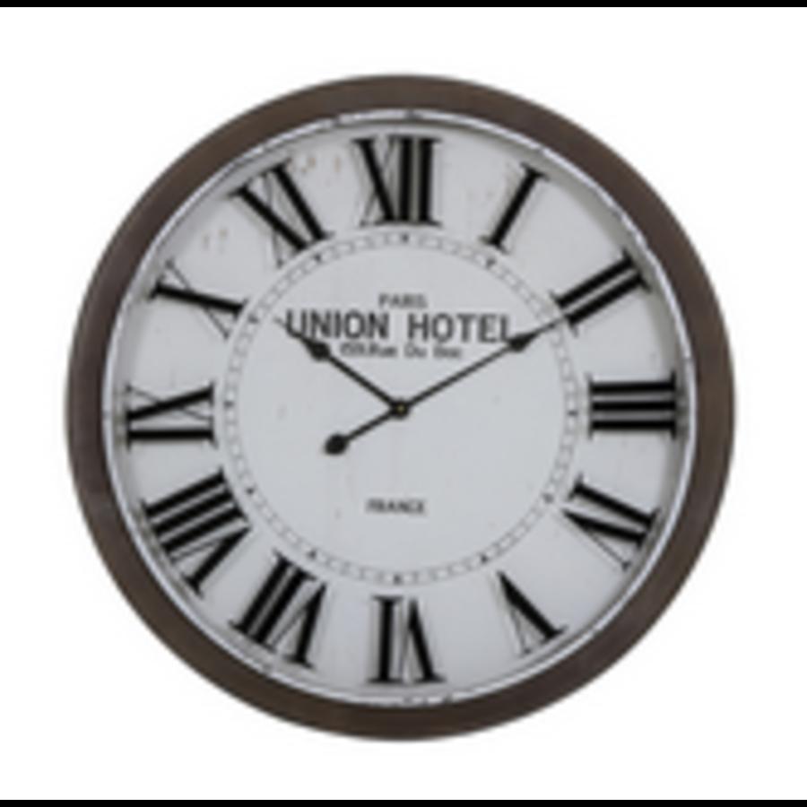 Clock Ø78x7 cm BANBURY white+brown-1
