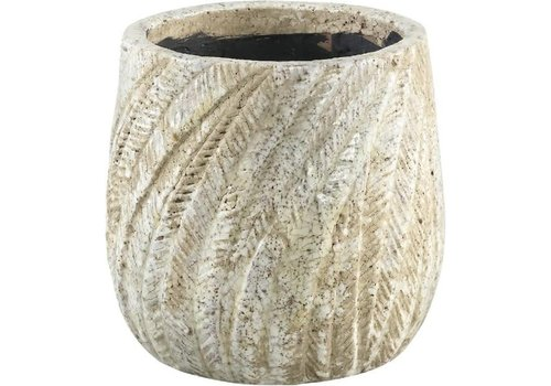 PTMD Vita cream ceramic palm pot round S