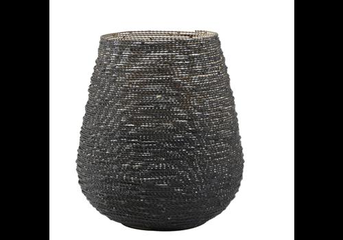 Theelicht Ø10x10,5 cm BUCOS mat zwart/goud