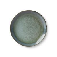ceramic 70's dessert plate: moss