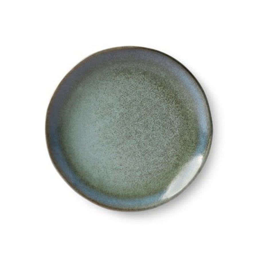 ceramic 70's dessert plate: moss-1