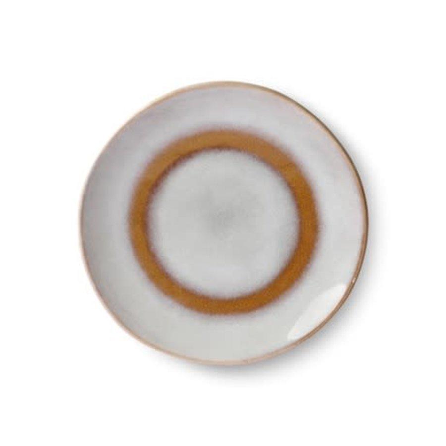ceramic 70's dessert plate: snowy-1