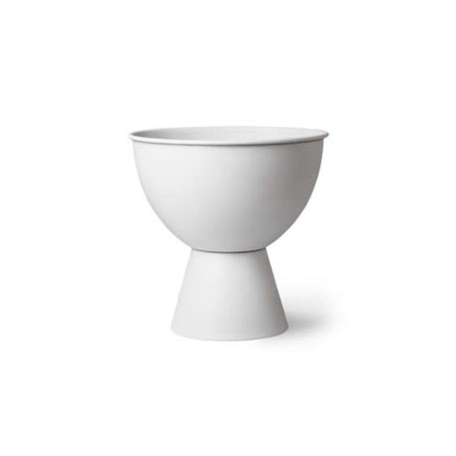 metal flower pot on base rustic white M-1