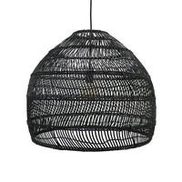 wicker hanging lamp ball black M