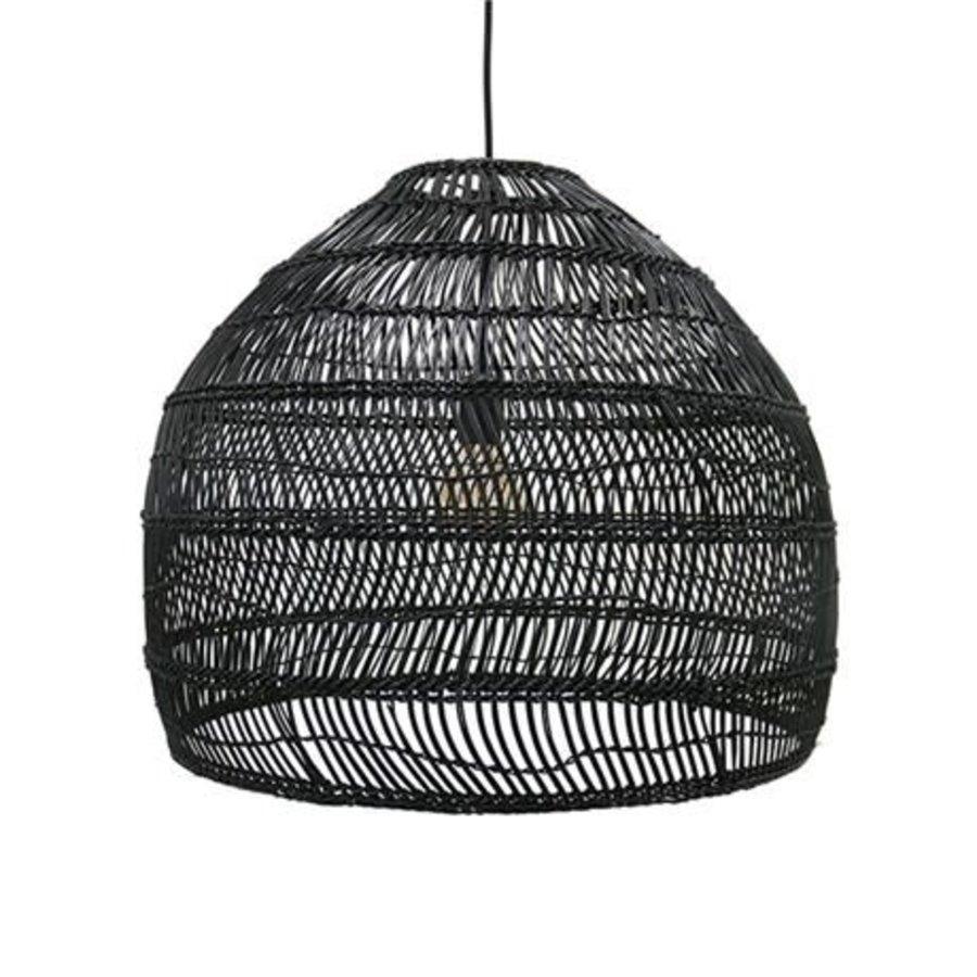 wicker hanging lamp ball black M-1