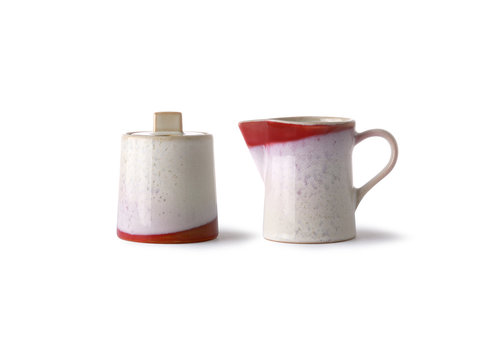 HKLIVING ceramic 70's milk jug & sugar pot: frost