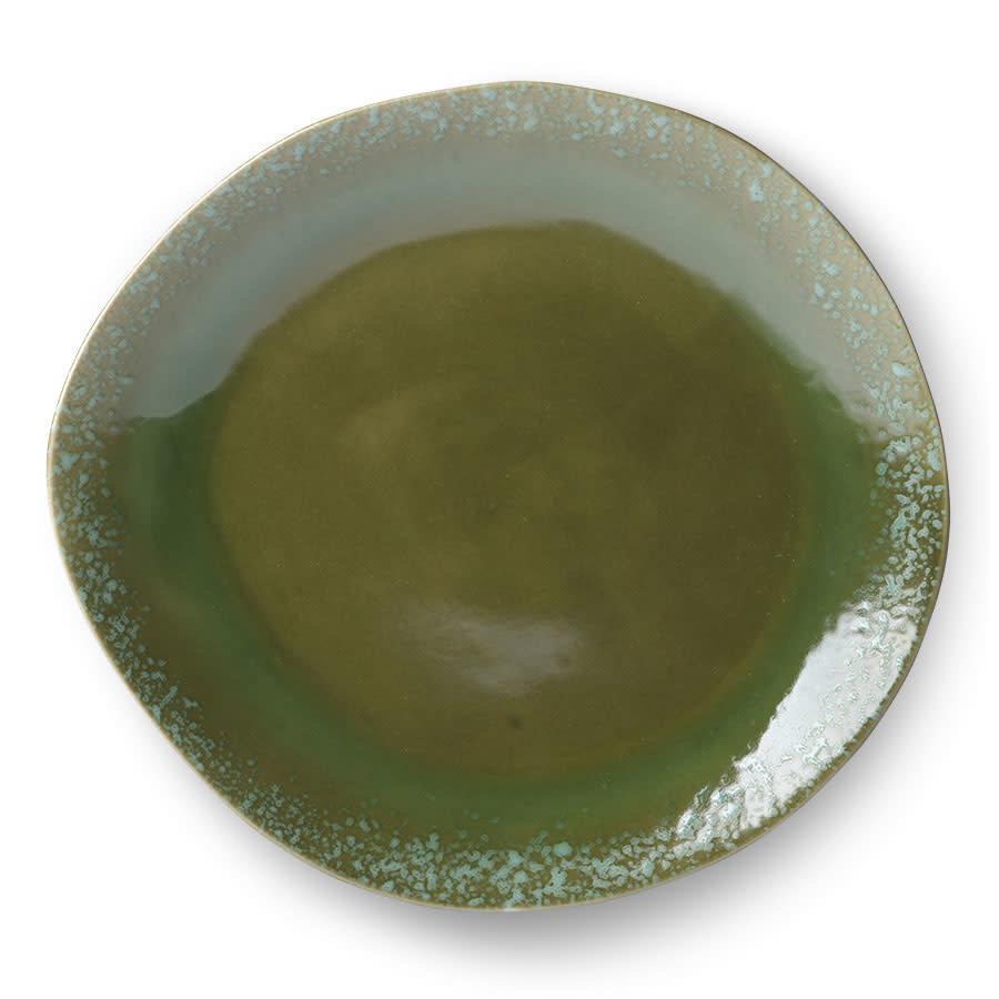 ceramic 70's dinner plate green-1