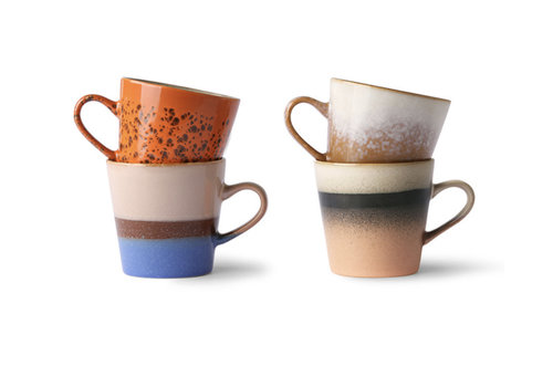 HKLIVING ceramic 70's americano mugs(set van 4 stuks