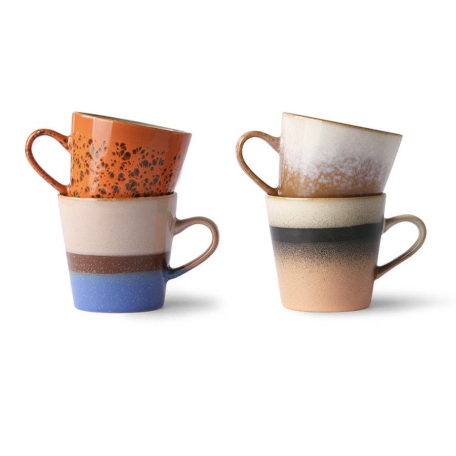 ceramic 70's americano mugs(set van 4 stuks ju/pa/sk/to-1