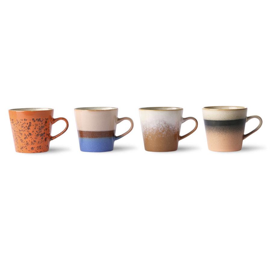 ceramic 70's americano mugs(set van 4 stuks ju/pa/sk/to-2