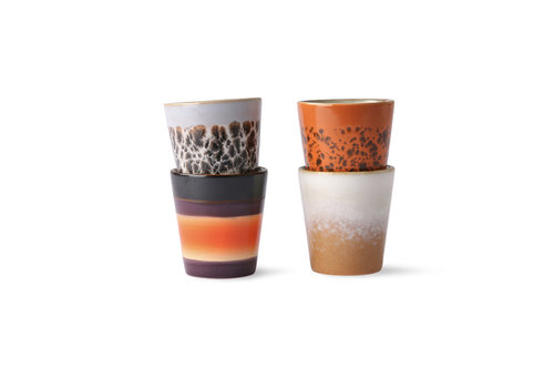 HKLIVING ceramic 70's ristretto mugs (set of 4) ju/pa/bi/re