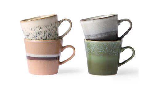 HKLIVING ceramic 70's cappuccino mugs set of 4 ha/st/ro/gr