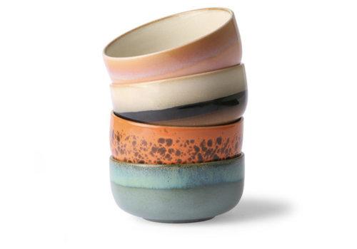 HKLIVING ceramic 70's dessert bowls ( set van 4 stuks) mo/pa/to/pi.