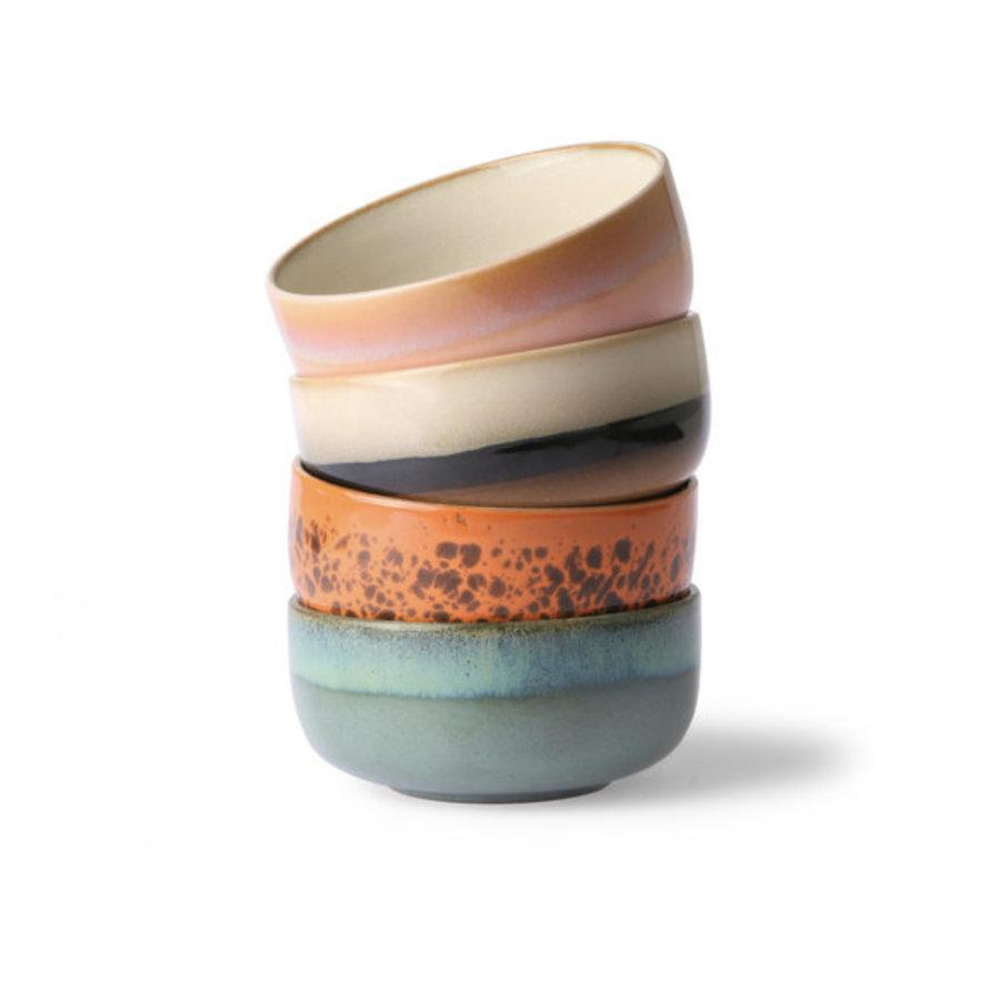 ceramic 70's dessert bowls ( set van 4 stuks) mo/pa/to/pi.-1