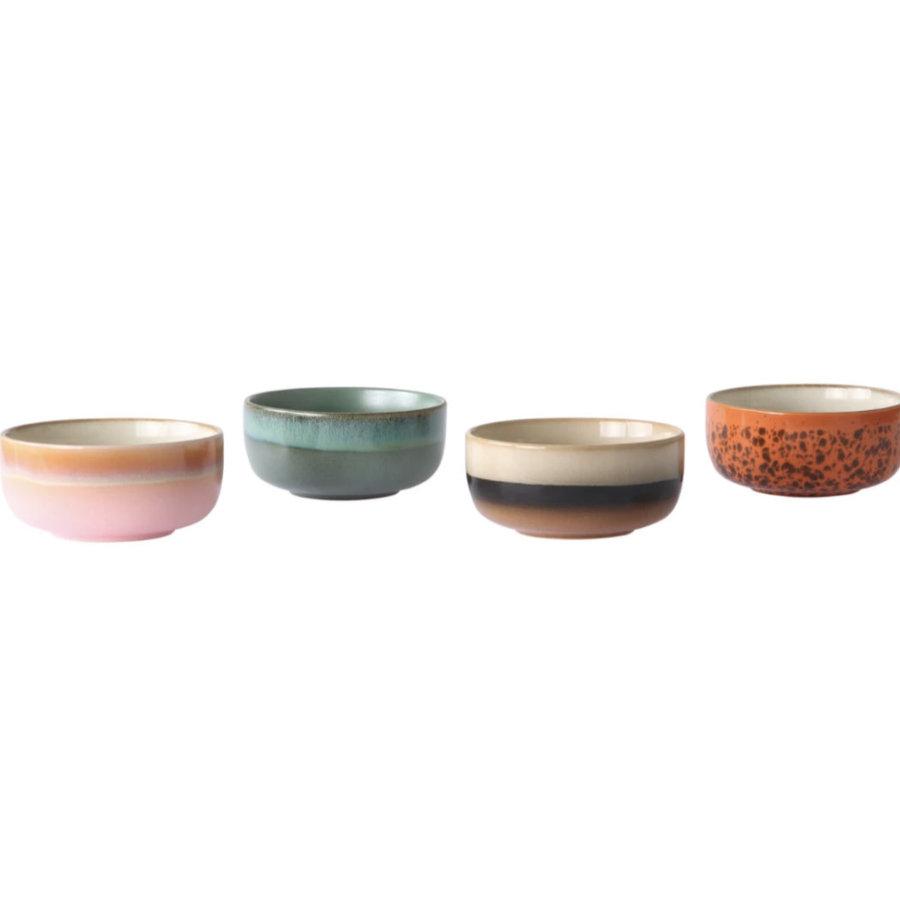 ceramic 70's dessert bowls ( set van 4 stuks) mo/pa/to/pi.-2