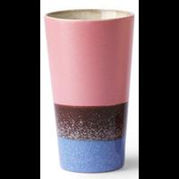 ceramic 70's latte mug blauw