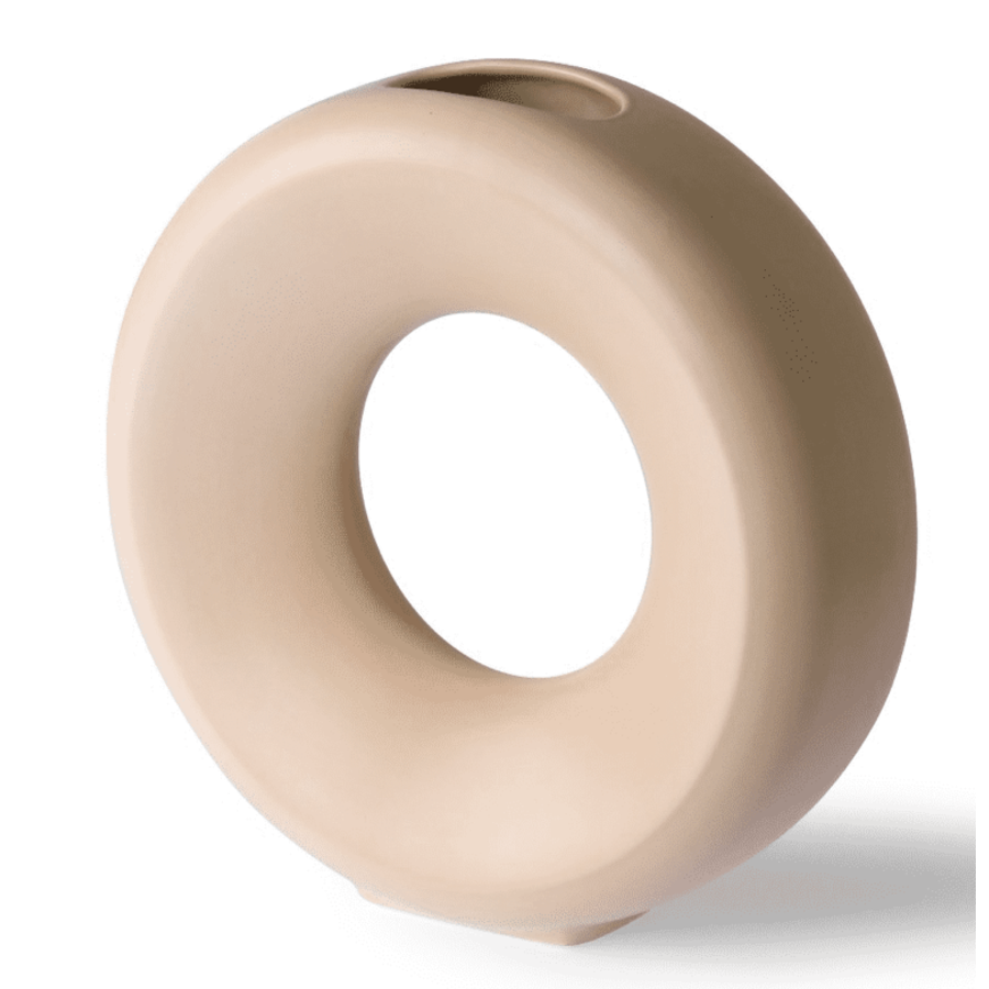 ceramic circle vase L sand ace6960-1