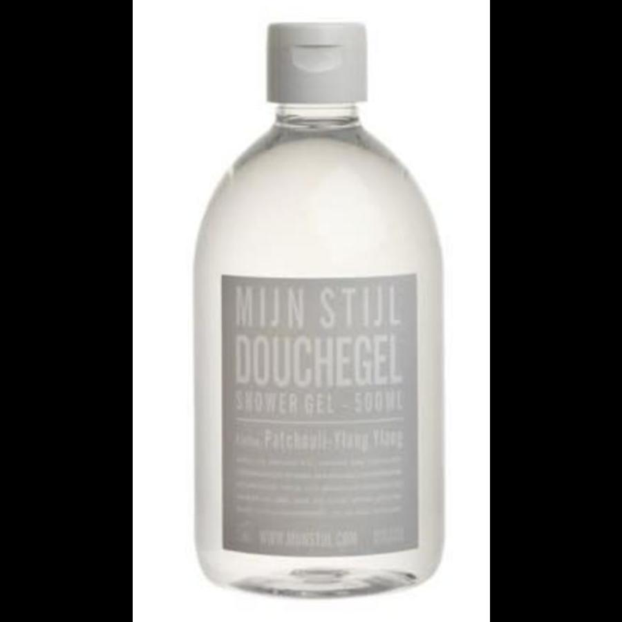 mijn stijl shower gel patchouli 500ml. grijs etiket-1