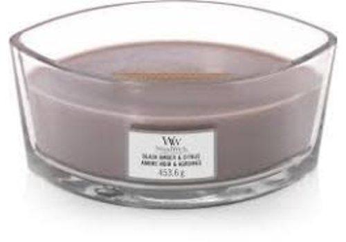WOODWICK WoodWick Black amber & citrus ellipse candle