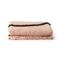 Soft woven trow nude with black tufted lines