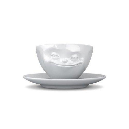 Tassen - kop en schotel - grijnzend