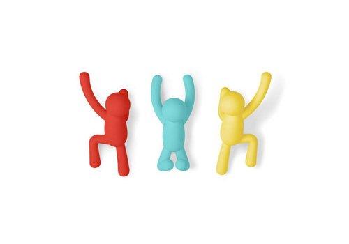 Umbra Umbra - buddy haken - rood, geel, blauw  (set van 3)